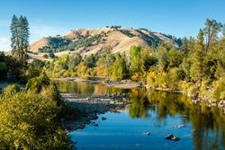American river at fall at South Fork near Lotus, CA