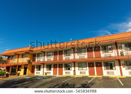 american road motel with blue...