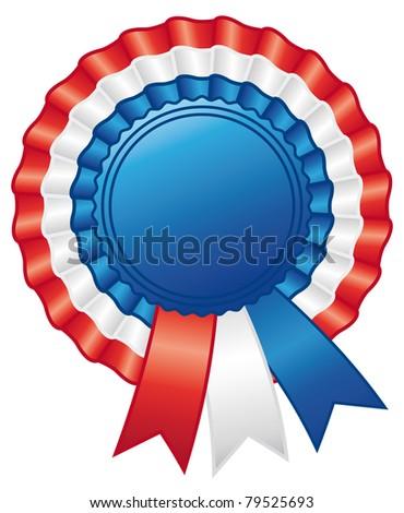 American rosette ribbon. Emblem decoration.