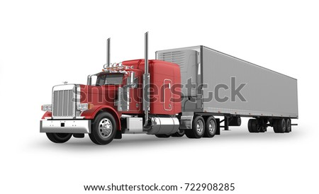 American Semi Truck Isolated on White 3D Rendering