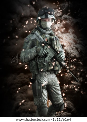 American soldier with a battlefield background. 3d model scene.
