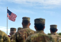 American Soldiers and Flag of USA. US Army. US troops