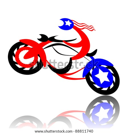 American sport biker jumping on high-speed motorcycle