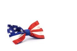 American style bow tie on a white background. An element of men's wardrobe. The symbols of the state. Patriotism.
