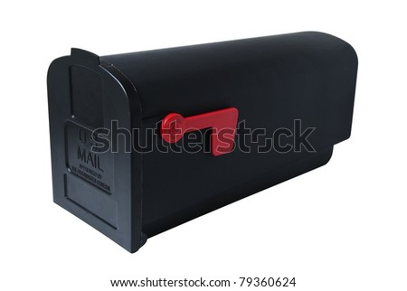 American-style mailbox, closed with lowered flag. Studio shot, isolated on white background, saved with clipping path
