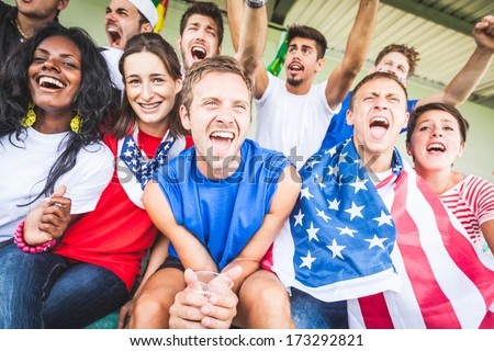 American Supporters at Stadium stock photo