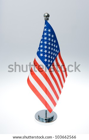 American table flag isolated on white - stock photo