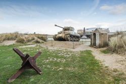 American tank on Utah Beach, Normandy invasion landing memorial