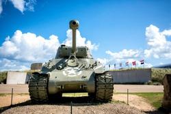 American tank on Utah Beach, Normandy invasion landing memorial. France.