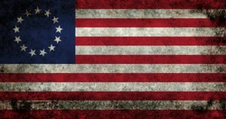 American thirteen point historic flag often named the Betsy Ross flag, this version features dark grungy textures.