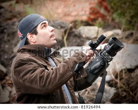 American TV reporter - stock photo