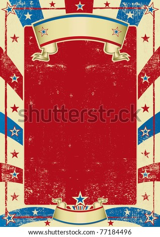 American used poster with red frame. A textured background for a poster