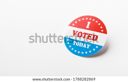 American vote sticker isolated on white background, elections in US 2020, panorama, copy space Stock photo ©