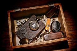 American West legend western pioneer memorabilia and souvenir collection with old bible and antique pocket watch with everyday object in a vintage keepsake wood box