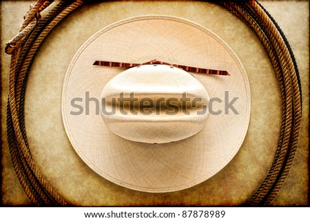 American West rodeo cowboy white hat and authentic vintage Western lariat style lasso hondo loop on smooth brown leather texture background