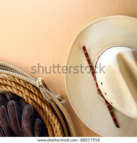 American West rodeo cowboy white hat and authentic Western lariat style lasso with hondo loop on smooth leather texture background