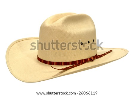 American West rodeo cowboy white straw hat isolated on white
