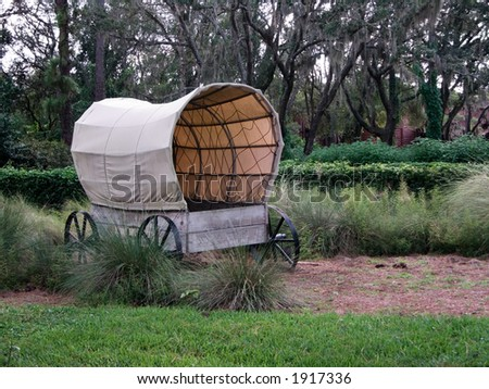 American western-styled covered wagon