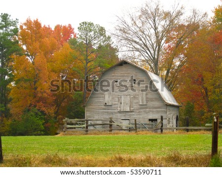 American wooden barn in fall