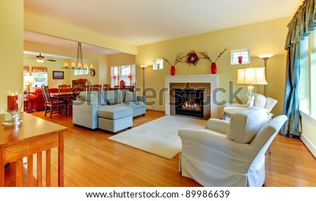 American yellow large beautiful living room.