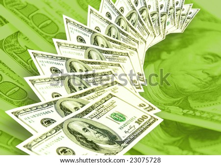 Americans dollars background made from lots of hundred banknotes