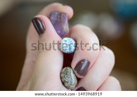 Amethyst, Dendritic Agate, and Ocean Jasper. Small sized crystal bundle. Woman's hand holding healing crystals. Crystals with intricate detail, macro photo of stones with natural lighting.  Tree agate #1493968919