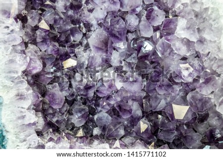 Amethyst druse, amethyst crystals close up view, precious stone. #1415771102