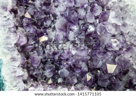 Amethyst druse, amethyst crystals close up view, precious stone. #1415771105