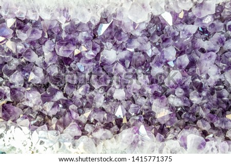Amethyst druse, amethyst crystals close up view, precious stone. #1415771375