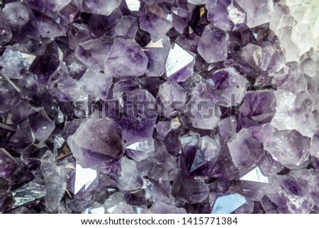 Amethyst druse, amethyst crystals close up view, precious stone. #1415771384