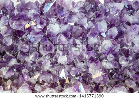 Amethyst druse, amethyst crystals close up view, precious stone. #1415771390