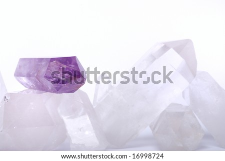 Amethyst energized on quartz crystals -  semiprecious gems are used for jewels and also in esoteric and alternative medicine