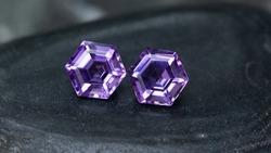 amethyst purple pair,hexagon amethyst gemstone,nice cutting