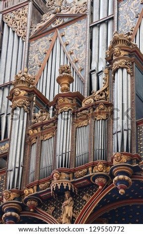 AMIENS - FEBRUARY 9: Organ in the Cathedral of Our Lady of Amiens, France, on February 9, 2013.