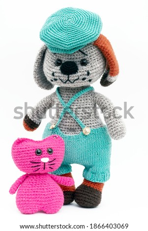 Amigurumi soft toys handmade. Сrochet wool.A gift for children and loved ones Stock fotó ©