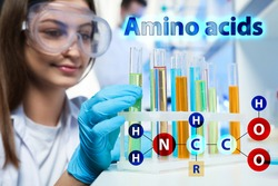 Amino Acids chemical formula, illustration. Scientist taking test tube from rack in laboratory