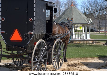 amish buggy near gazebo