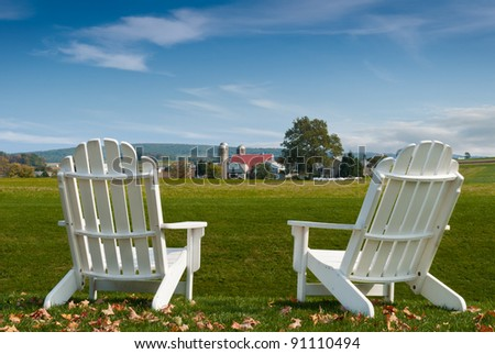 Amish Country Adirondack Chairs - farm view rest
