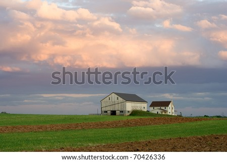 Amish Farmstead at Sunset (Lancaster County,Pennsylvania)