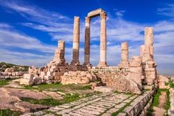 Amman, Jordan. The citadel and Temple of Hercules of the Amman Citadel, Jabal al-Qal'a sunset light.
