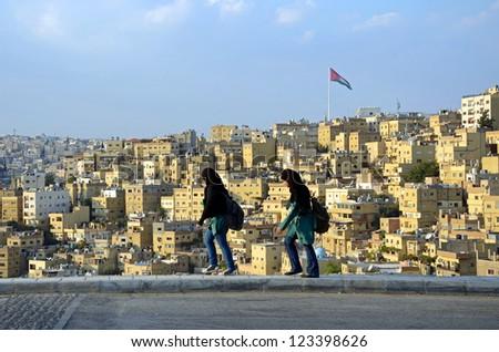 AMMAN � OCTOBER 11: Amman city on October 11, 2012 in Amman. Amman is the capital of Jordan and originally the city spread over seven hills.