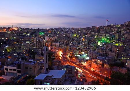 AMMAN - OCTOBER 11: Amman city on October 11, 2012 in Amman. Amman is the capital of Jordan and originally the city spread over seven hills.