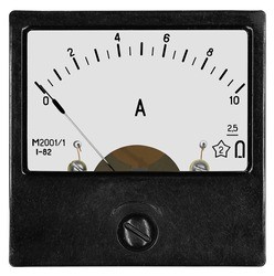 Ammeter M2001 (year 1982) for 10 ampere of direct current on white background