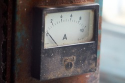 ammeter of old charger for batteries close up