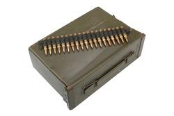 Ammo Box with ammunition belt isolated on white background