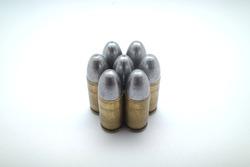 ammo .357 magnum revolver on white background