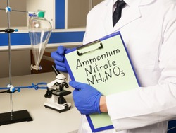 Ammonium nitrate NH4NO3 is shown on the chemical photo