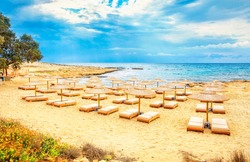 Ammos Kambouri beach in Aiya Napa, Cyprus. Ayia Napa coastline.