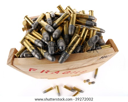 "Ammunition bullets (22 LR) in wooden transport box with ""fragile"" text"