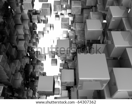 Among the crowd of reflective cubes, 3d render